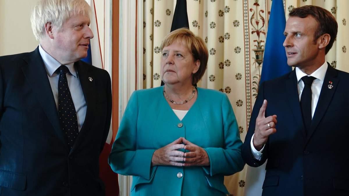 Ангела Меркель, Эмануэль Макрон и Борис Джонсон