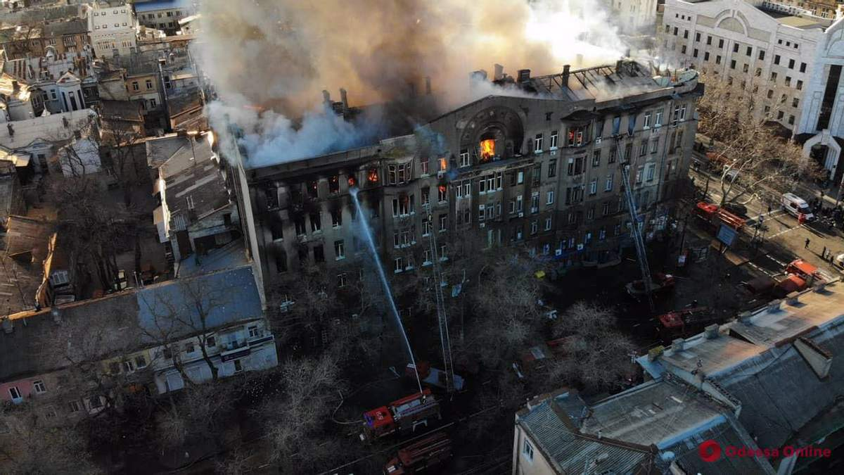 Пожежа в коледжі  в Одесі – причини, подробиці пожежі на Троїцькій