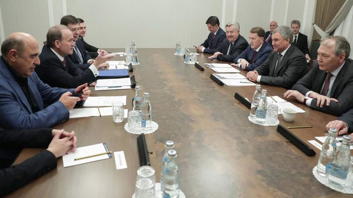 Віктор Медведчук і депутати від ОПЗЖ під час візиту до Москви