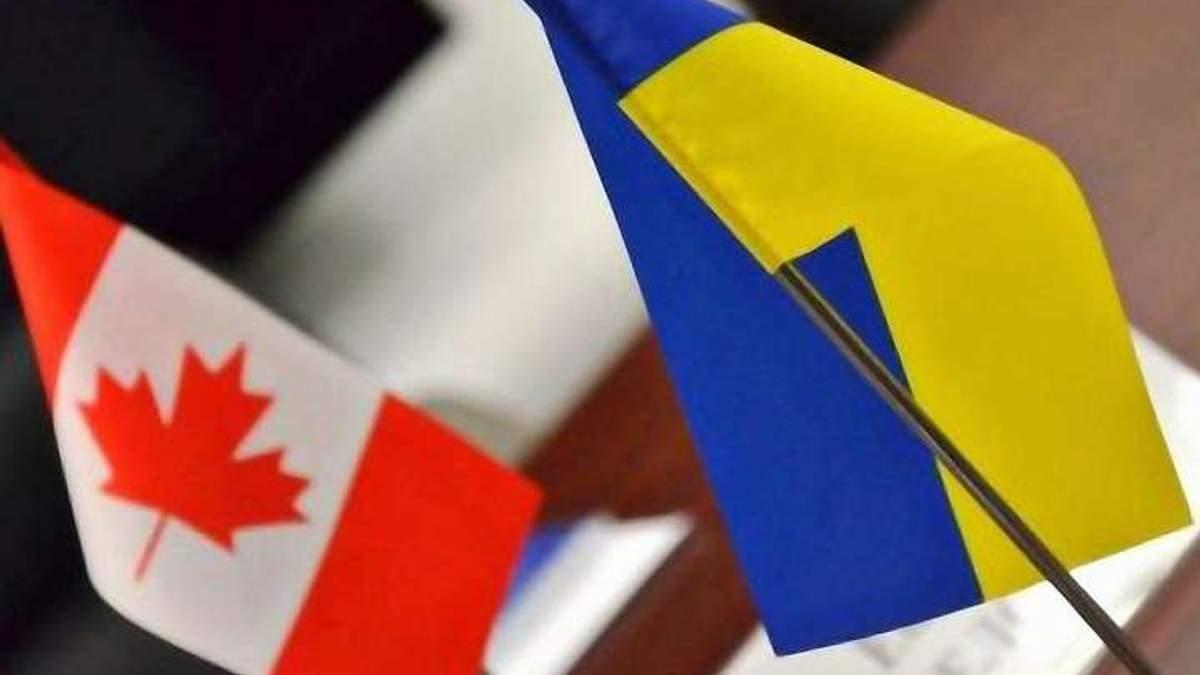 Прапори Канади та України