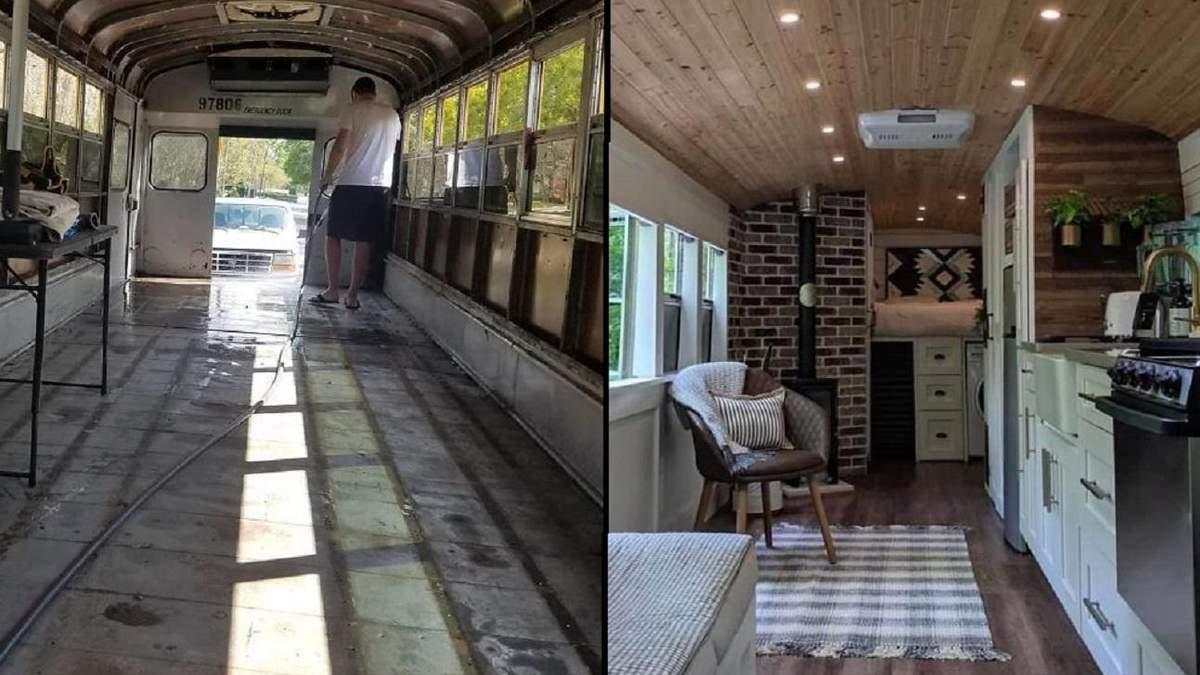Пара превратила старый школьный автобус в роскошный дом