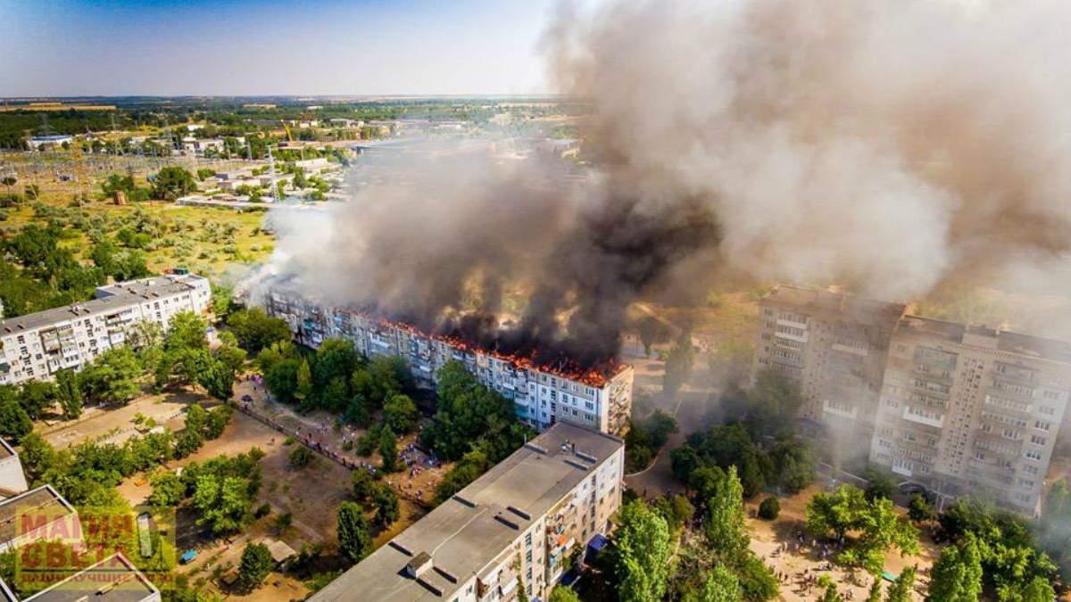 Масштабный пожар в Новой Каховке