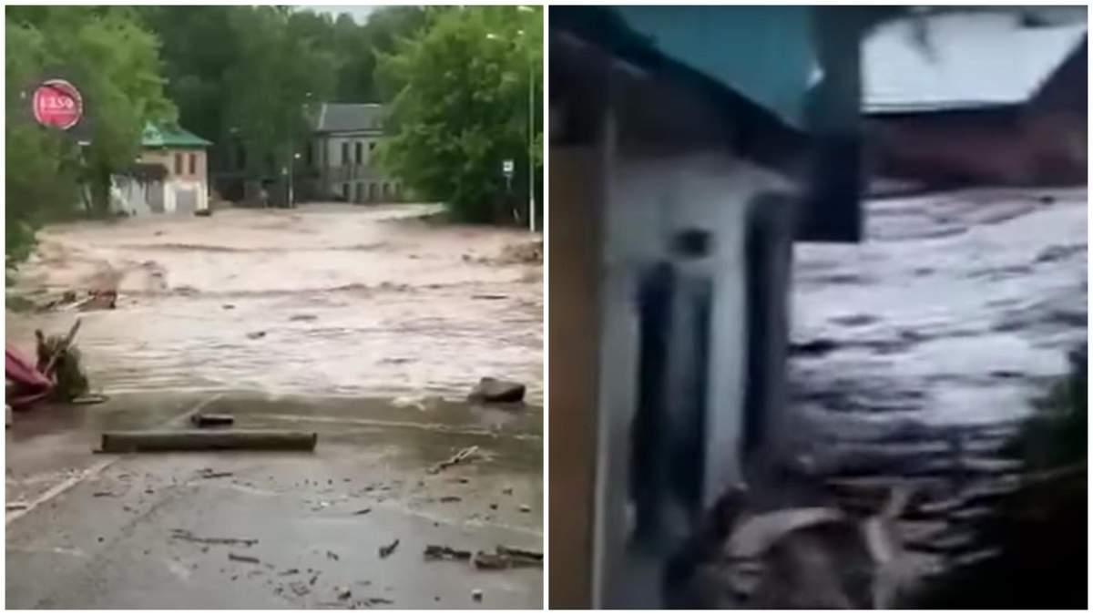 Потоп под Москвой: прорвало дамбу, снесло дома и деревья – видео