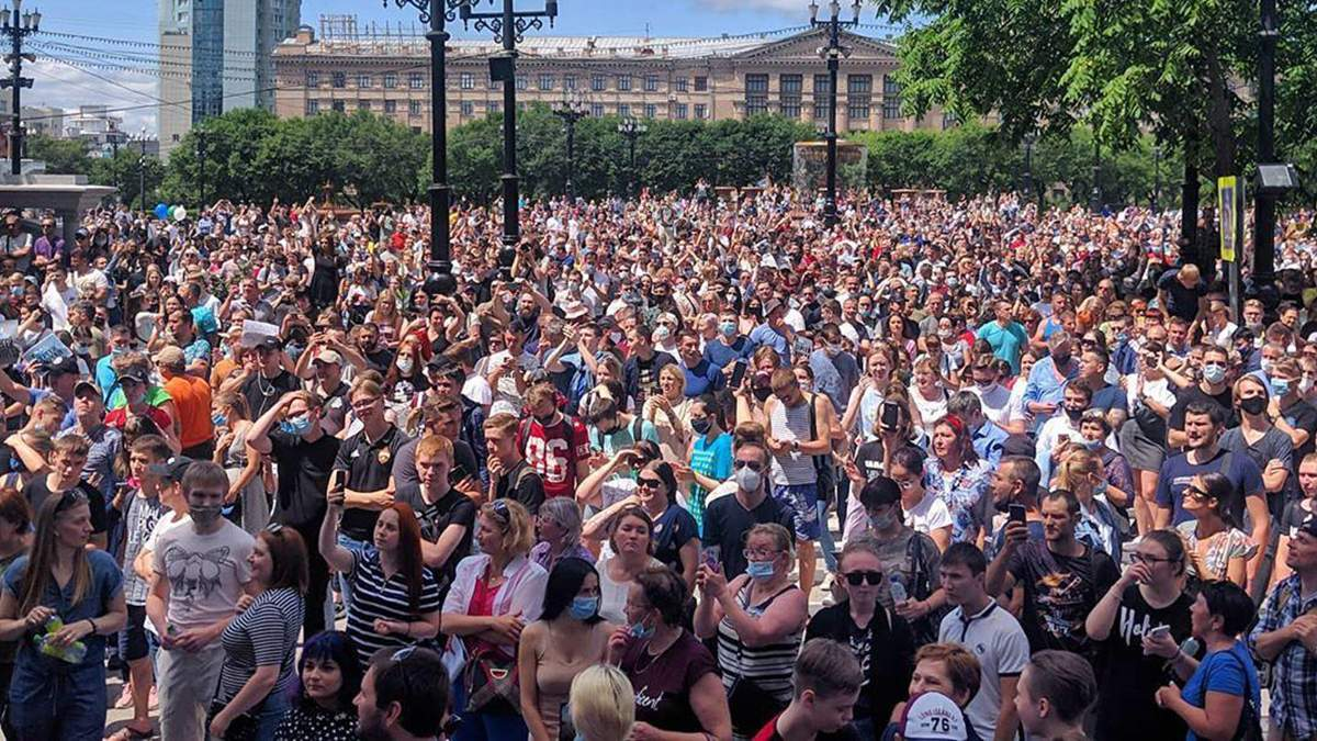 У Хабаровську пройшов мітинг на підтримку затриманого губернатора Фургала: люди скандували й за відставку Пуітна
