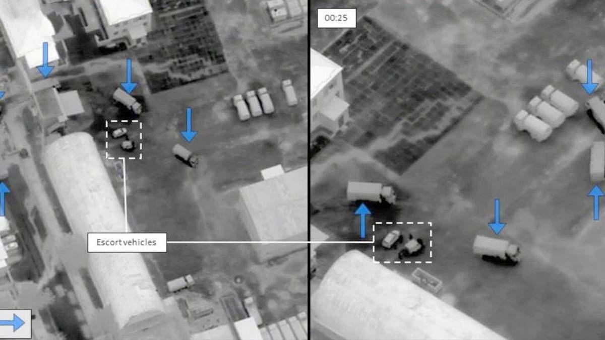 Колонна грузовиков из России скрыто въехала в Украину: уникальные снимки с беспилотника