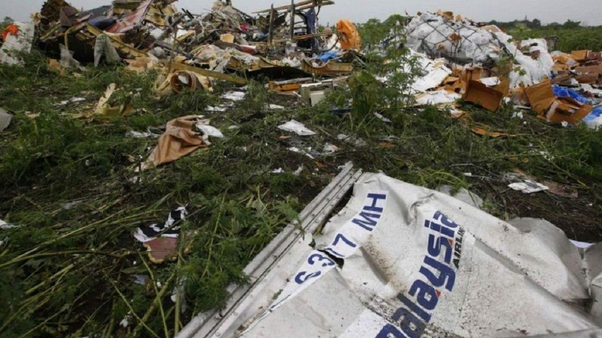 Обломки самолета рейса MH17 на Донбассе