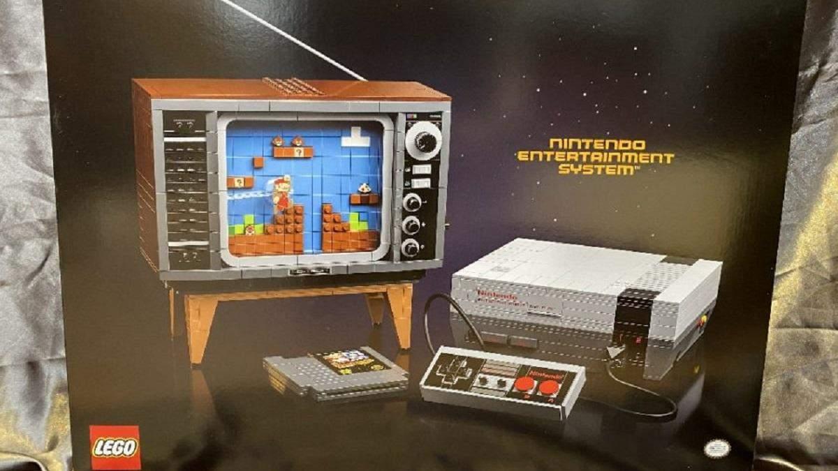 Конструктор состоит из приставки Nintendo и ретро телевизора