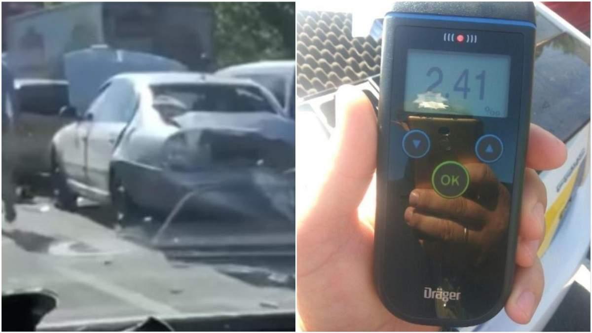 ДТП с пьяным водителем на Заболотного в Киеве 23.07.2020:  видео