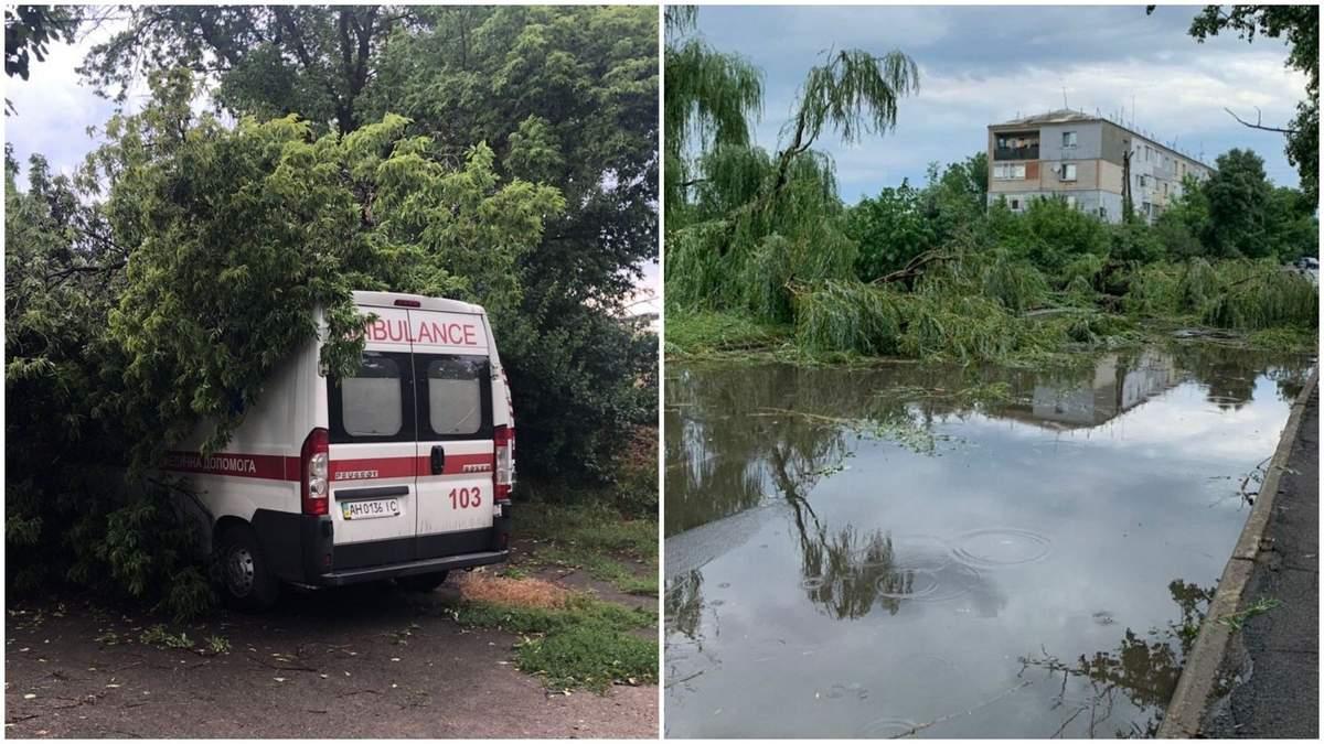 Ураган на Донеччині зривав дахи та розкидав дерева: фото і відео