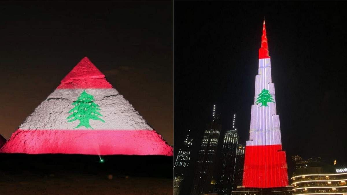 """Бурдж-Халифа"" и пирамиды в Египте засияли флагом Ливана"