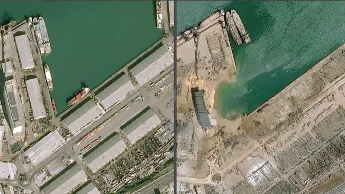 Вибухи в Бейруті: супутникові фото зруйнованого порту
