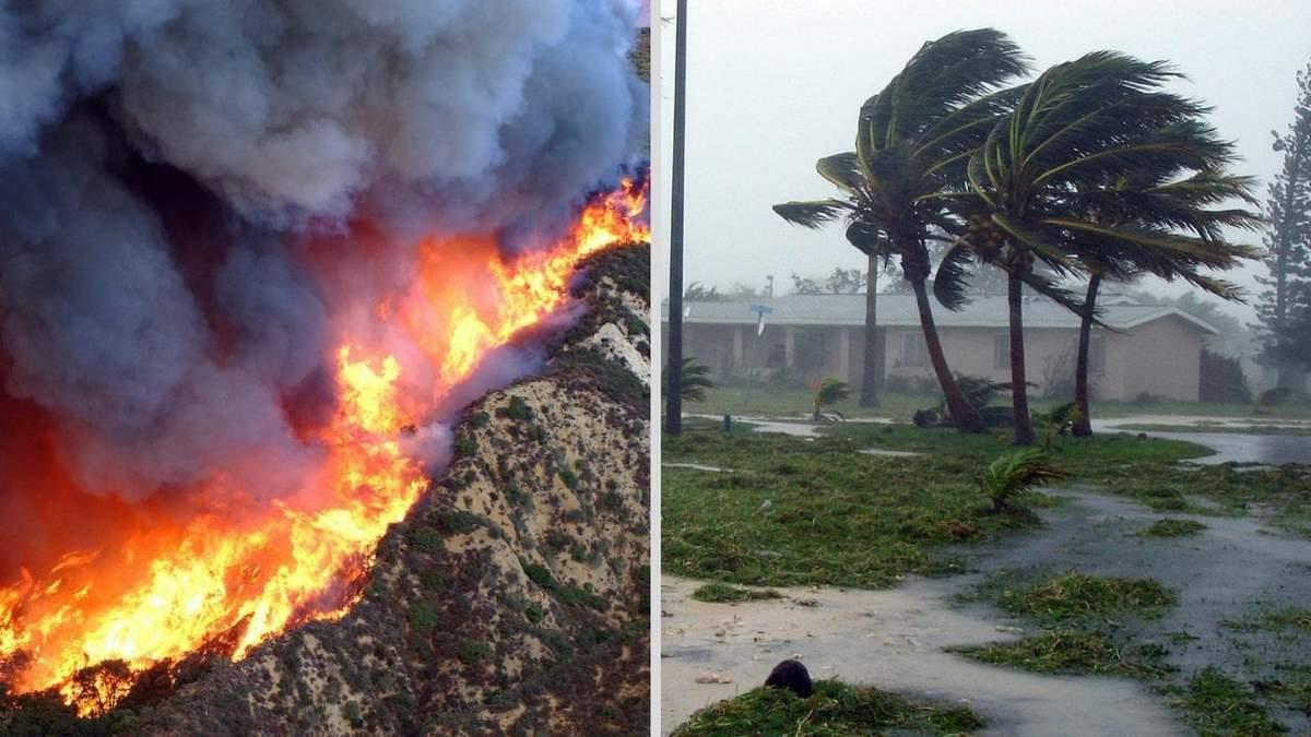 Лесной пожар и ураган