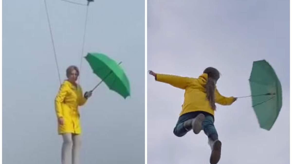 Політ Верещук із парасолькою над Києвом копіює ролик шотландів:відео