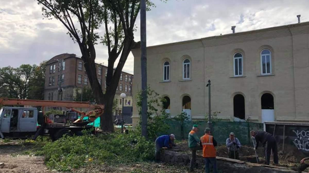 В центре Киева возле дома Зеленского вырубили деревья