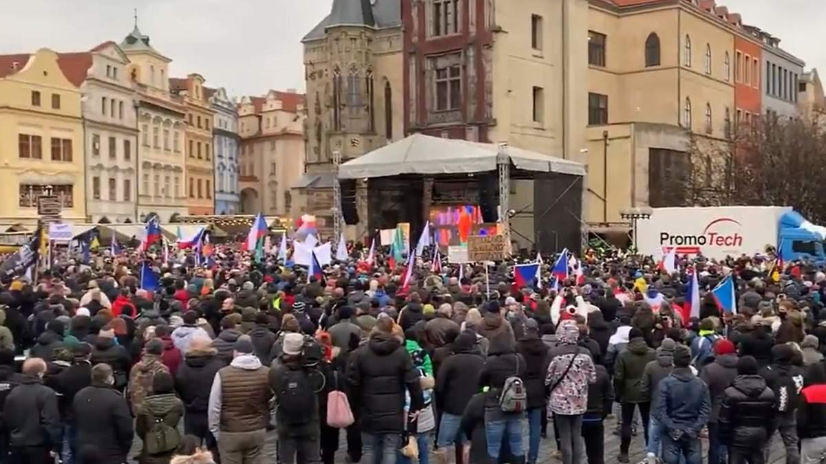 Протесты против локлауну в Праге 10.01.2021 фото, видео