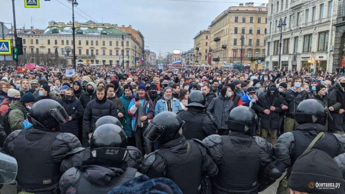 Скільки людей затримали на протестах в Росії за Навального: статистика