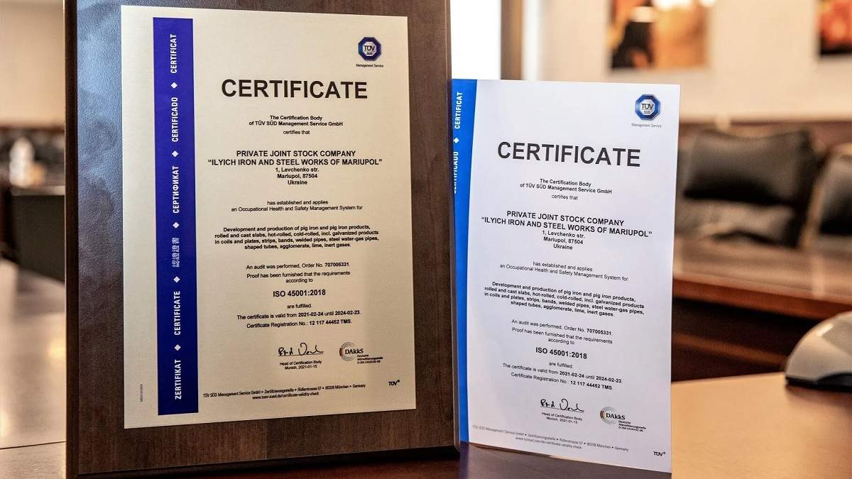 По итогам аудита меткомбинат Группы Метинвест получил сертификат по безопасности и охране труда