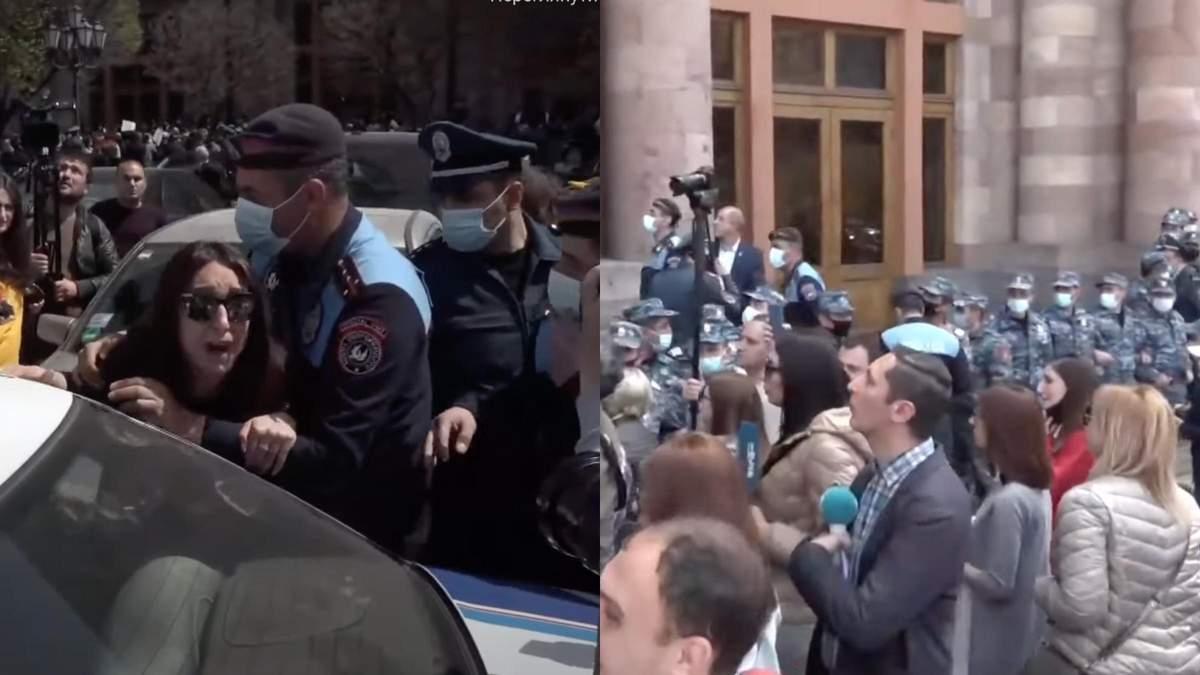 Протест женщин в Армении под домом правительства 7 апреля 2021 - видео
