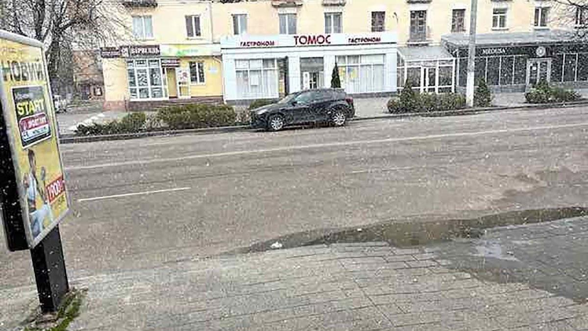 В апреле на Житомирщине и Черниговщине пошел снег фото, видео