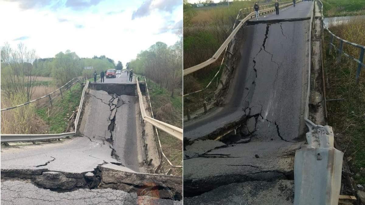 На трассе Львов - Луцк обрушился мост: видео обрушения моста