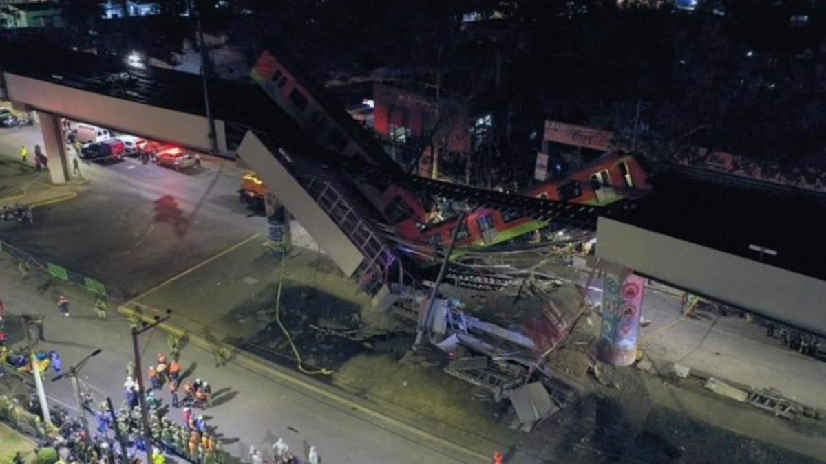 В Мексике обрушился мост вместе с поездом метро: видео