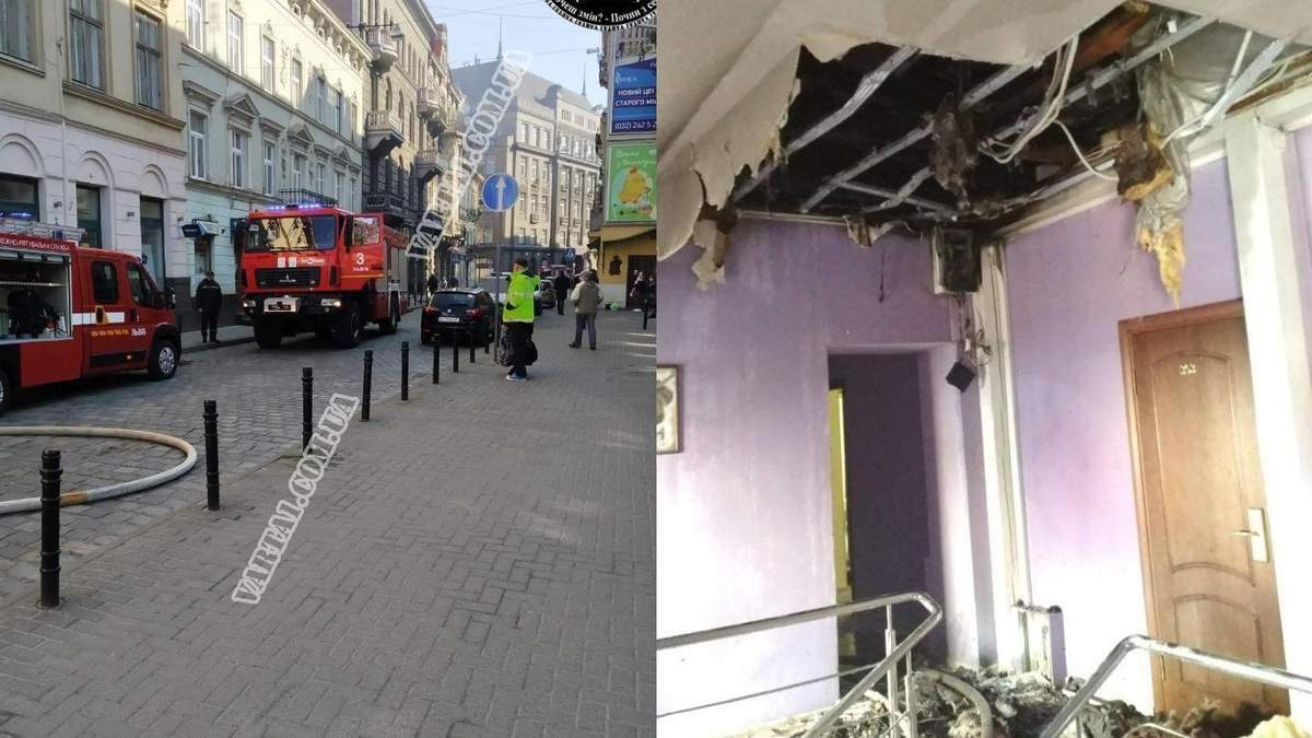 Во Львове загорелся отель: фото и видео пожара на улице Коперника