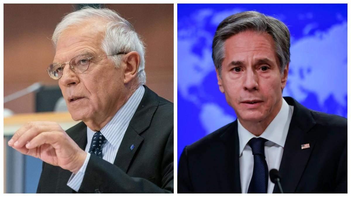Боррель та Блінкен обговорили агресію Росії на кордоні з Україною