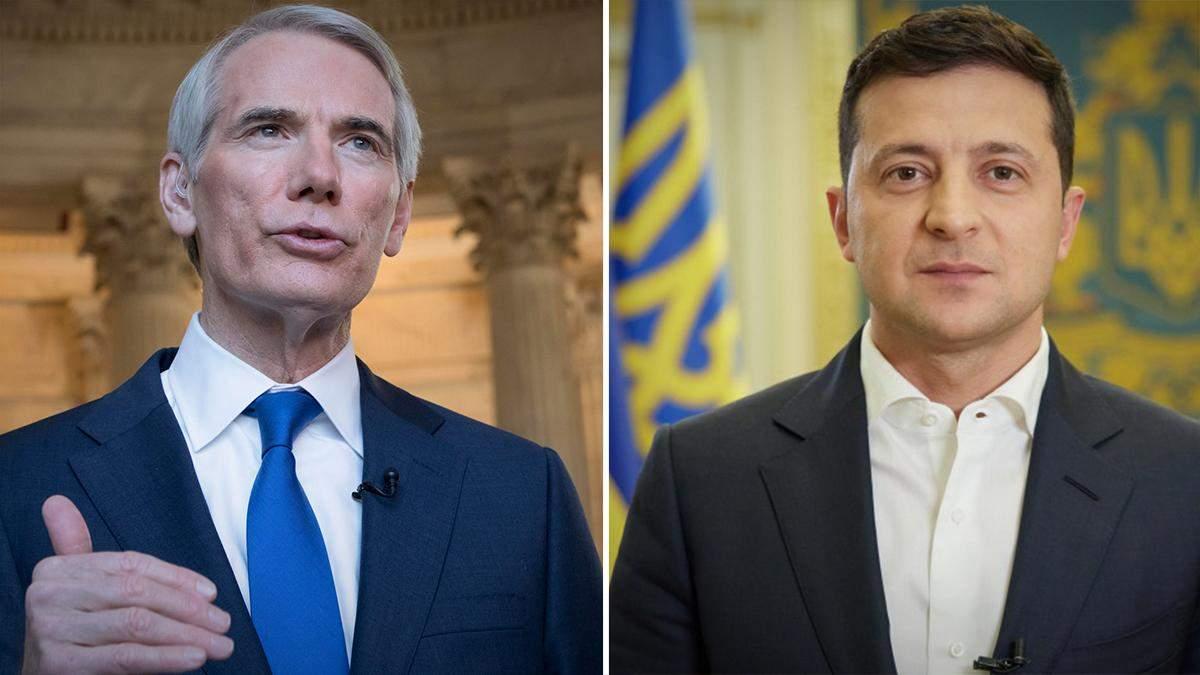Зеленський обговорив ситуацію на Донбасі із сенатором США Портманом