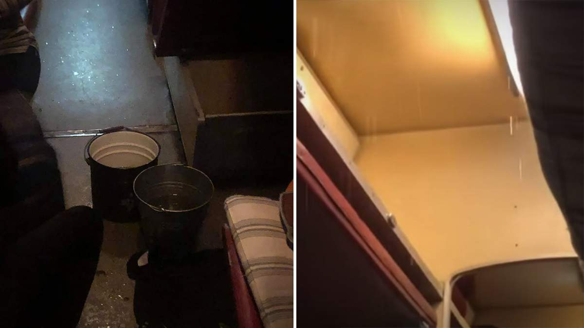 Пасажирам УЗ довелося їхати з відрами через діряву стелю: відео