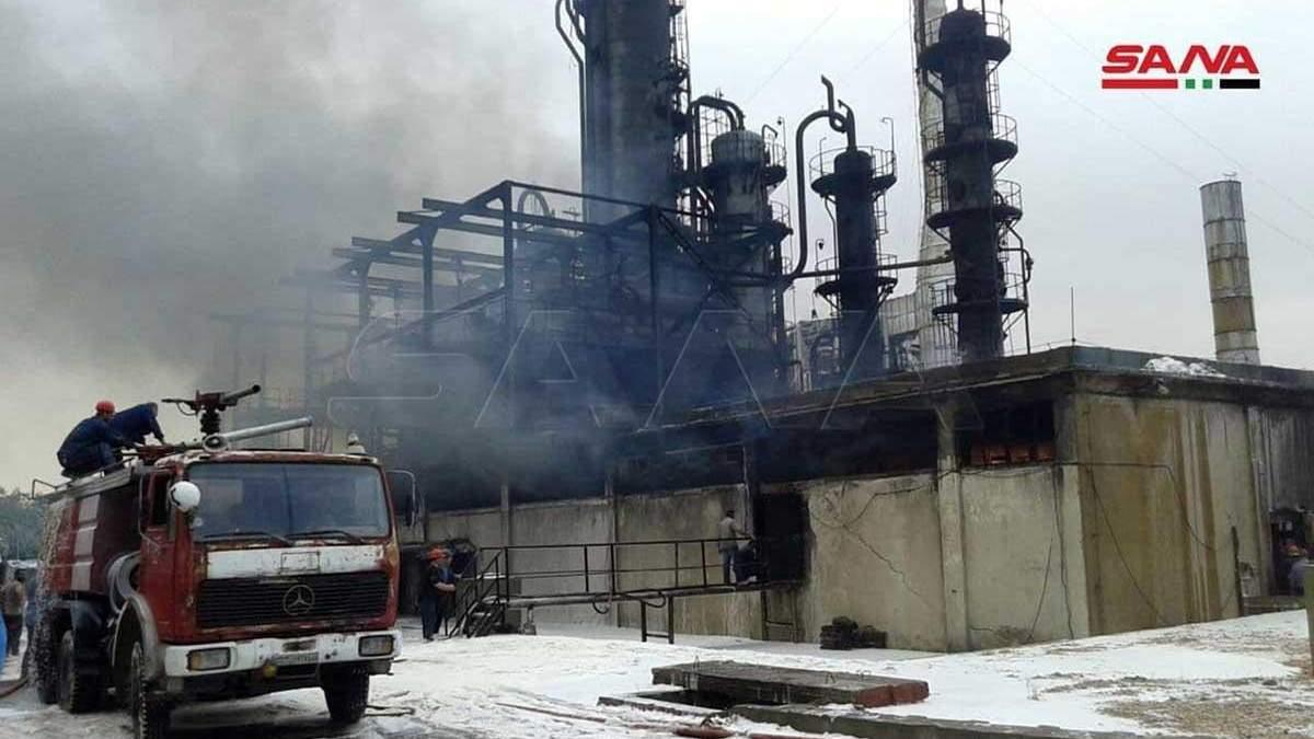 На нефтеперерабатывающем заводе Сирии вспыхнул пожар: фото