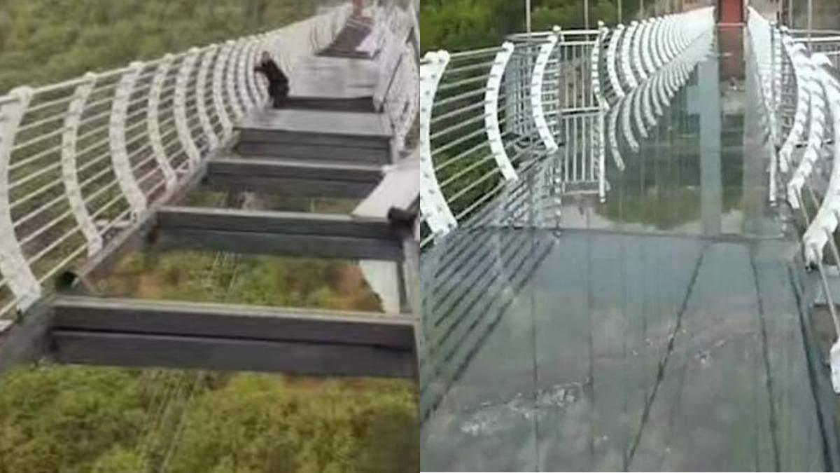 В Китае турист застрял на подвесном мосту на высоте 100 метров