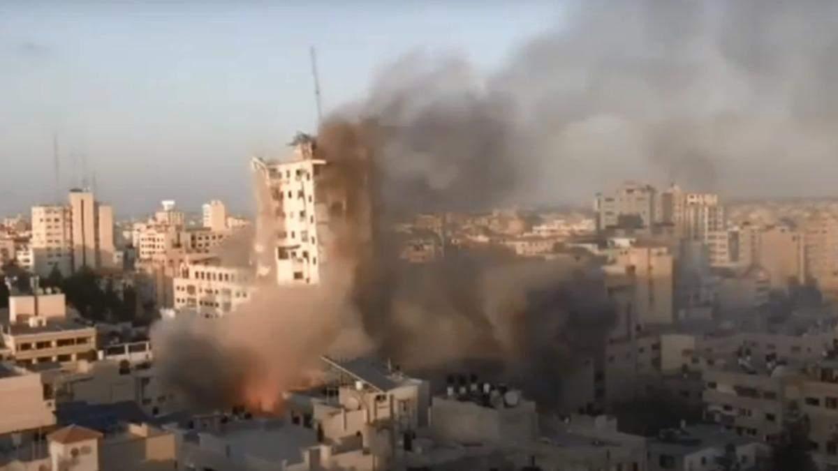Израиль разрушил третью крупнейшую здание в Секторе Газа: видео