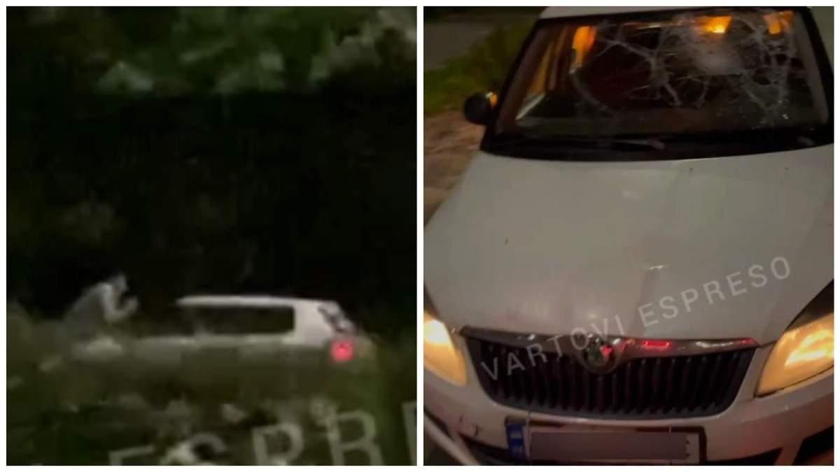 У Києві п'яний таксист збив і покатав хлопця на капоті: відео