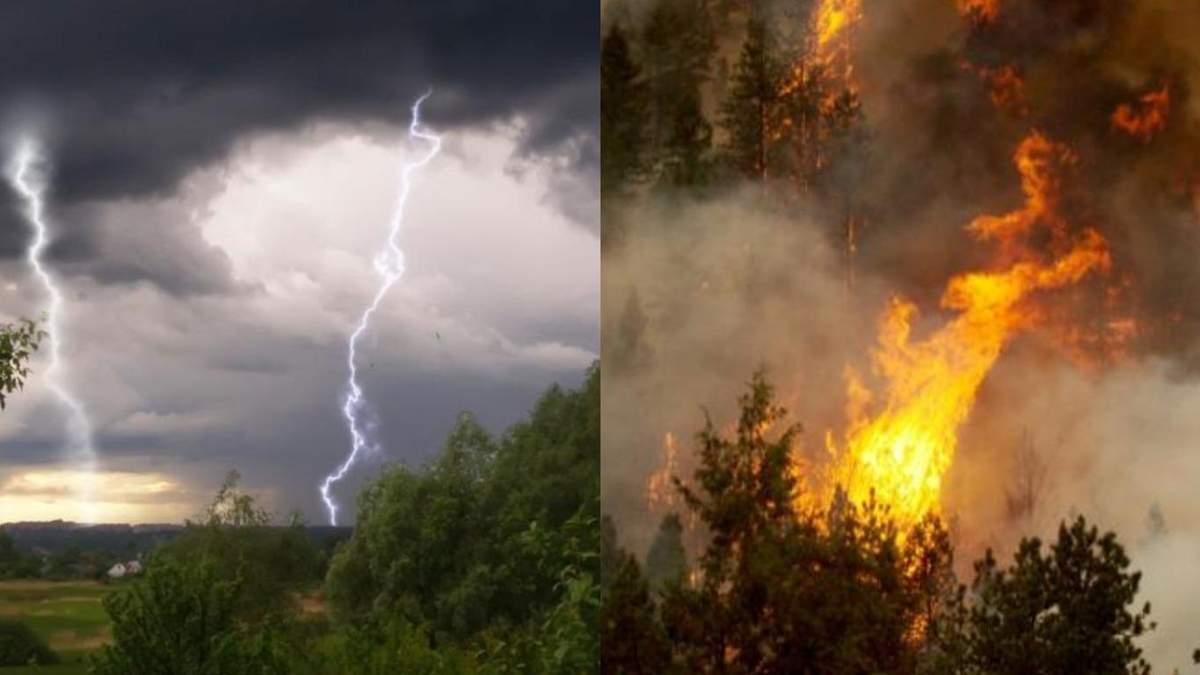 Грози та пожежна небезпека в Україні: прогноз по регіонах