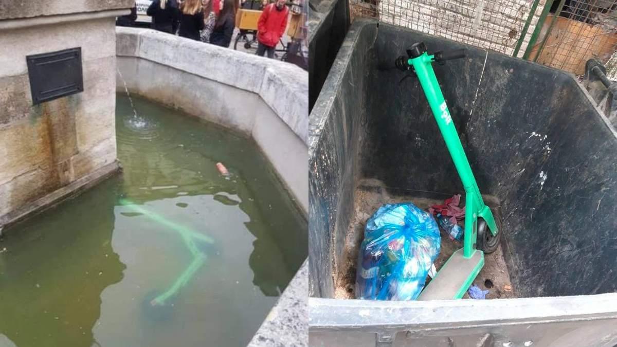 В фонтанах и мусорниках: где львовяне паркуют электросамокаты - смешные фото и видео