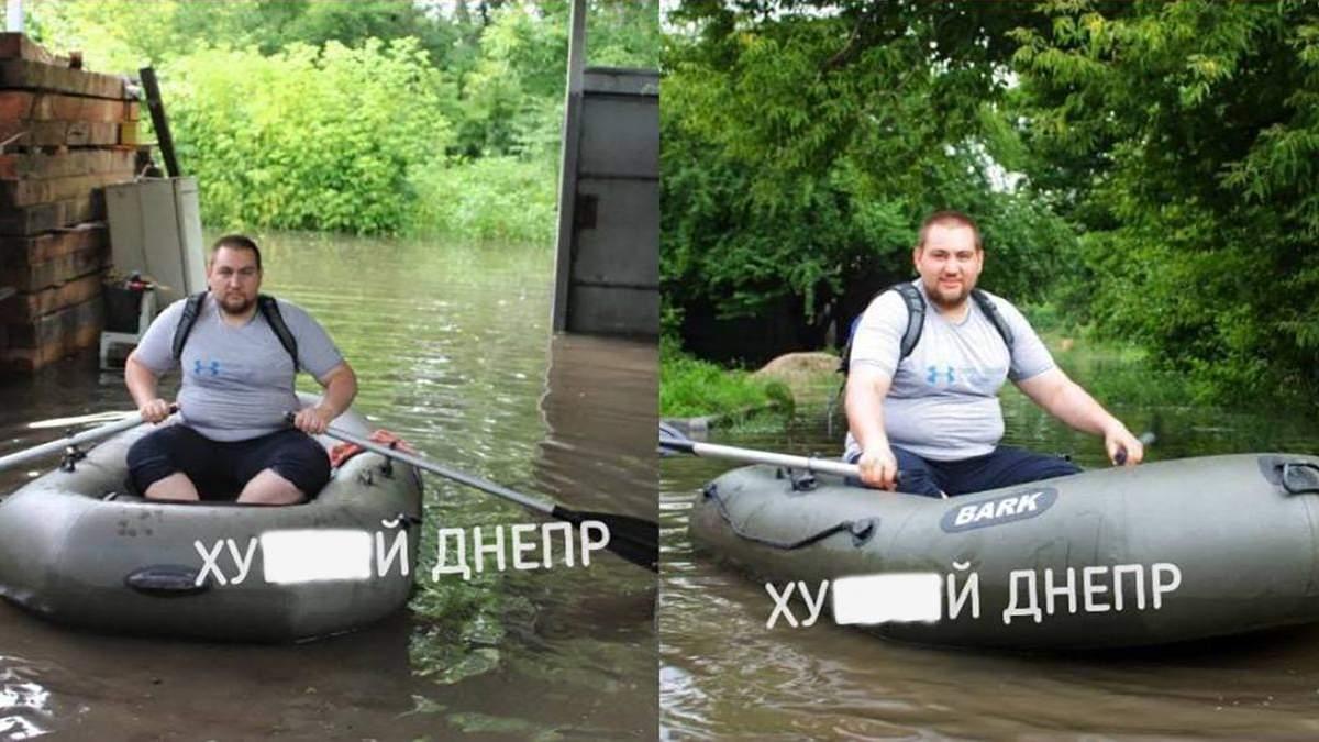 Житель Дніпра плавав по вулиці на човні: відео