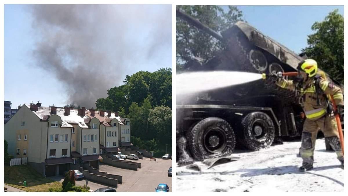 У Польщі в ДТП потрапила військова техніка – згоріли два танки: фото