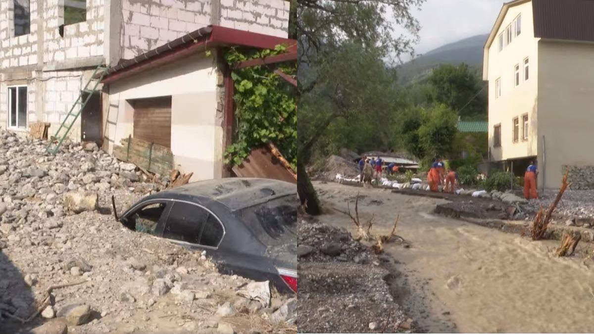 Последствия непогоды в Крыму: Ялту затопило камнями и мусором