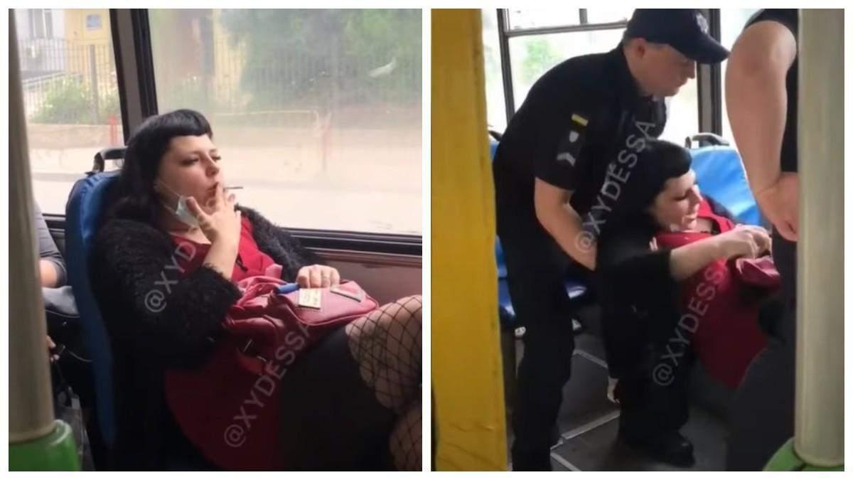 В Одессе женщина курила в троллейбусе: ее вынесли патрульные - видео