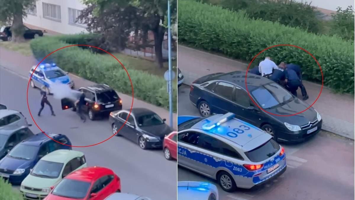 У Польщі 8 патрульних не могли затримати українця, відео