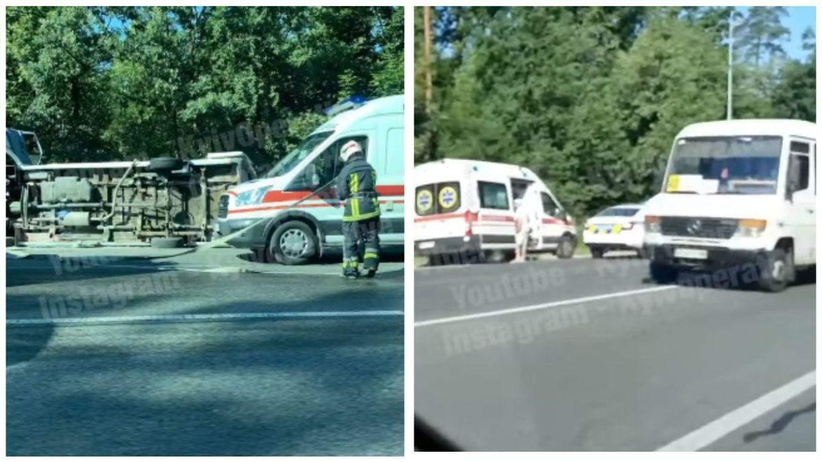Под Киевом на дороге перевернулась маршрутка с пассажирами: видео