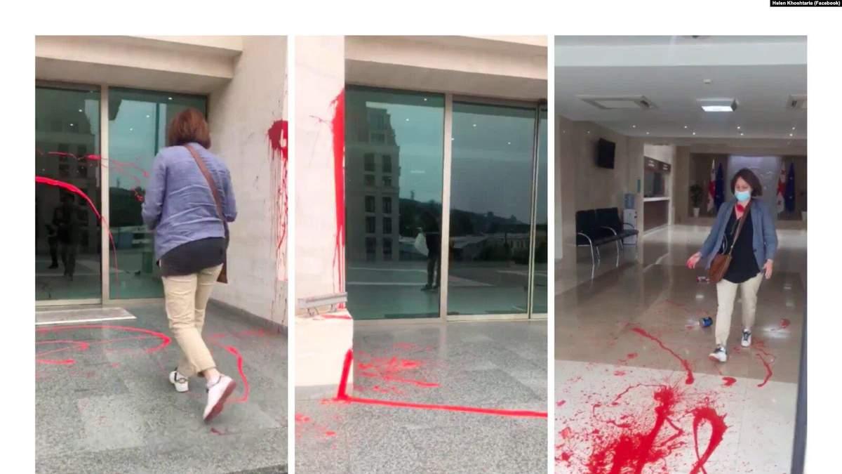 У Грузії після смерті Лашкарави будівлю уряду облили фарбою