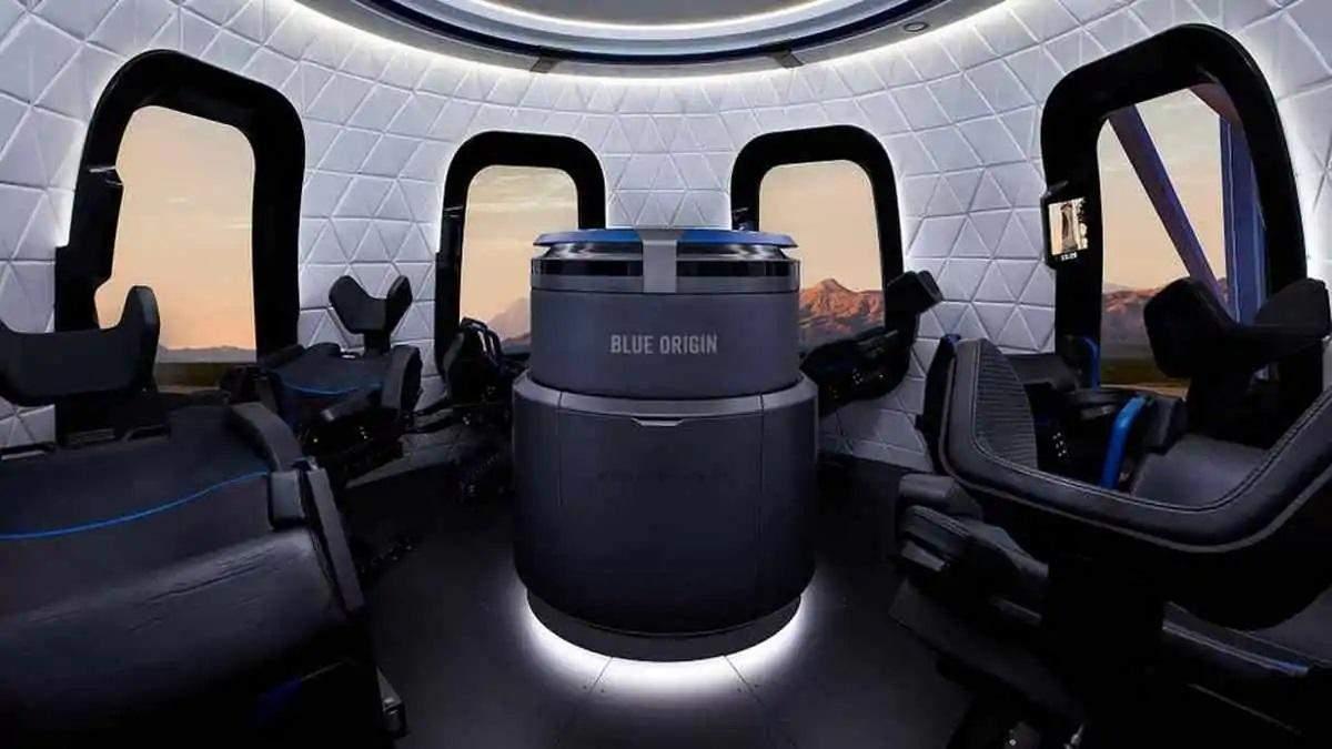 Приблизний вигляд пасажирської капсули New Shepard всередині