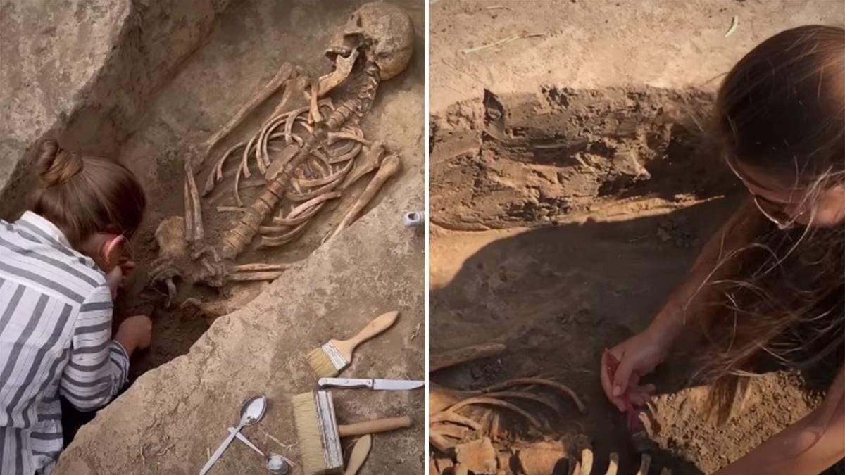 Археологи розкопали давнє поховання на Мамай-Горі: відео