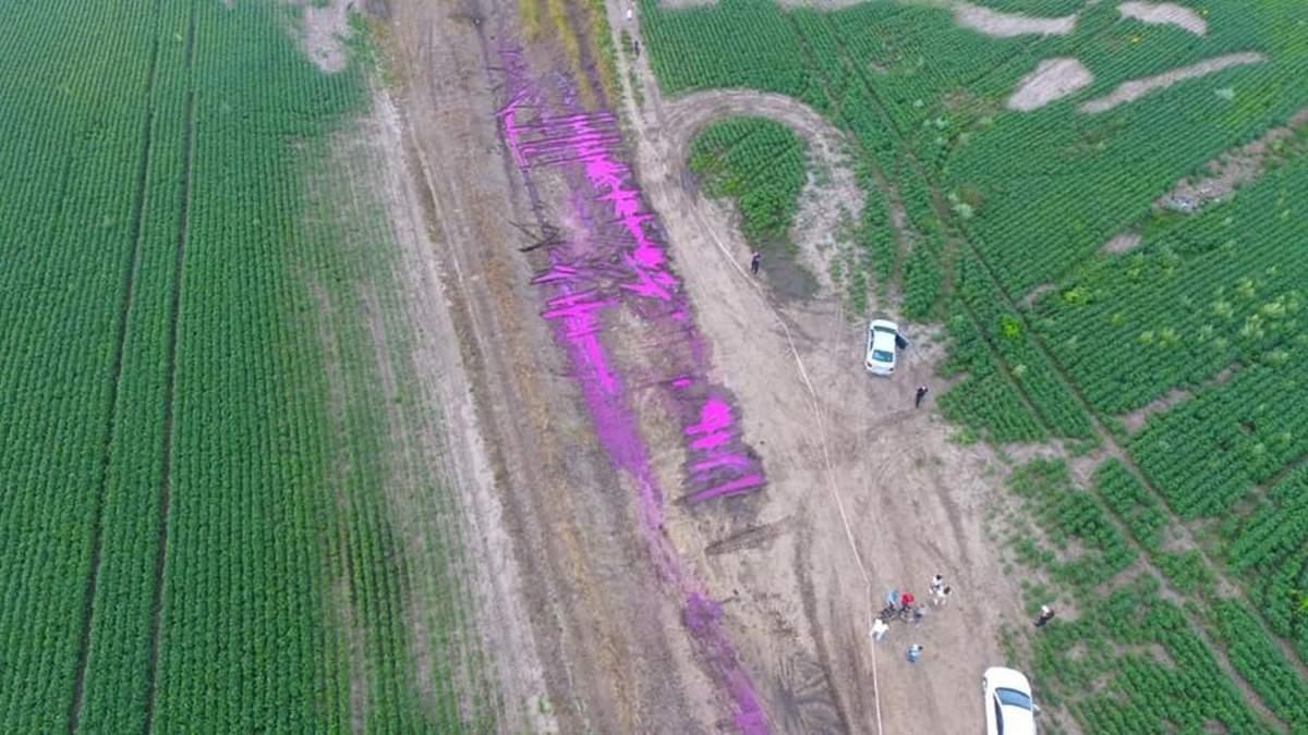 Полиция возбудила уголовное дело по факту розовых луж под Ровно