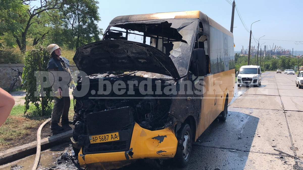 В Бердянске во время движения загорелась маршрутка с пассажирами: фото