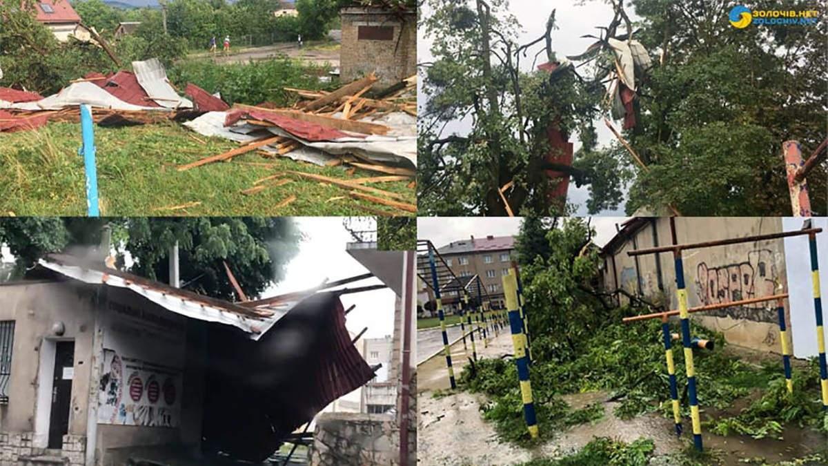 Сорвана крыша, повалены деревья, перевернуто авто: последствия непогоды на Львовщине – видео
