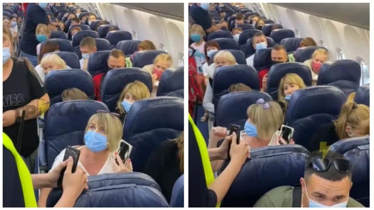 Женщина устроила скандал в самолете, не хотела надевать маску: видео