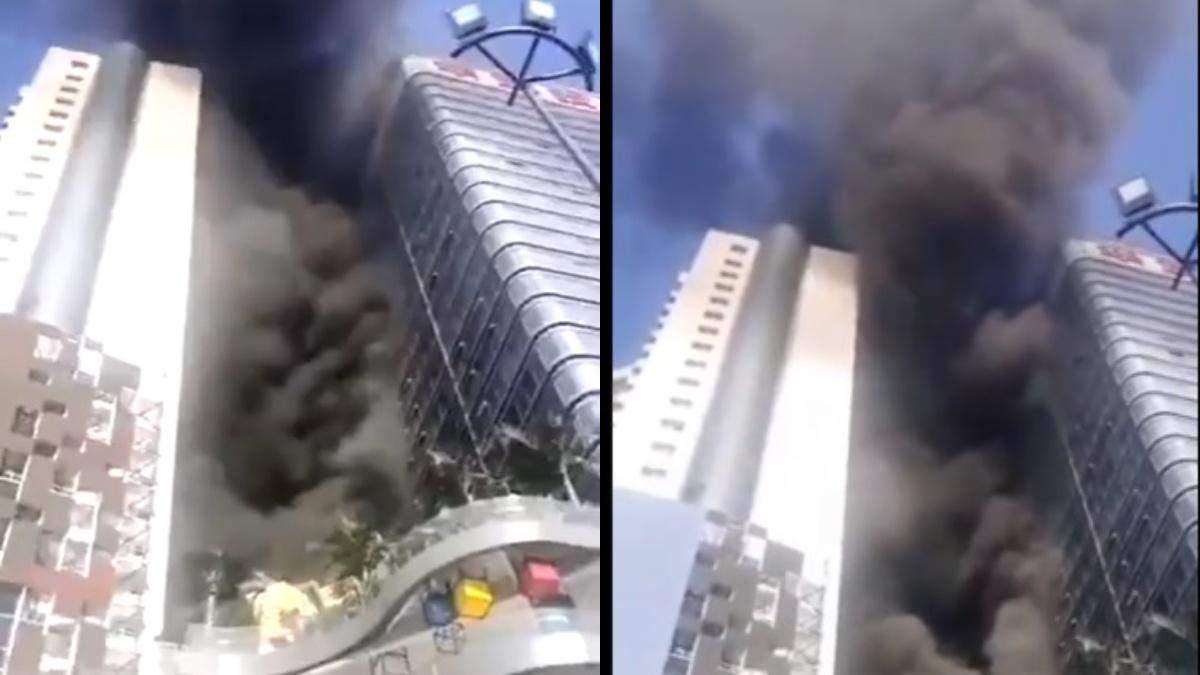 У Китаї горіла Сіаньська вежа міжнародної торгівлі: відео