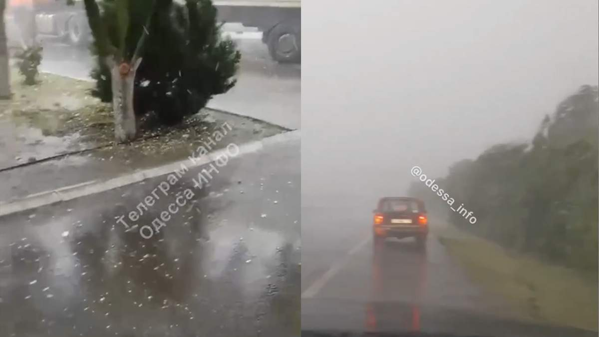 Сильний град із грозою на Одещині: відео негоди